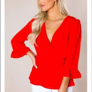 Red Ruffle Wrap Blouse